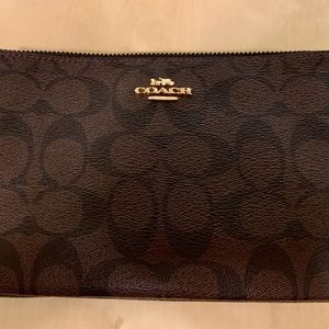 Coach black and brown classic wristlet